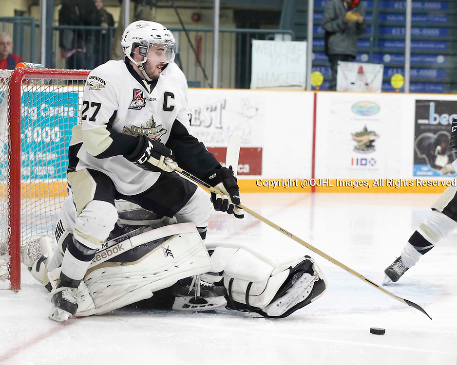 TRENTON, - Apr 17, 2016 -  Ontario Junior Hockey League game action between the Trenton Golden Hawks and the Georgetown Raiders. Game 3 of the Buckland Cup Championship Series, Danny Hanlon #27 of the Trenton Golden Hawks at the Duncan Memorial Gardens, ON. (Photo by Amy Deroche / OJHL Images)