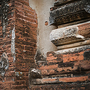 Part of the worn exterior, exposing the bricks, at Gu-byauk-gyi Temple in Nyaung-U, Myanmar (Burma).