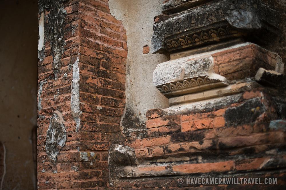 Part of the worn exterior, exposing the bricks, at Gu-byauk-gyi Temple in Nyaung-U, Myanmar (Burma).