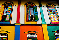 Beautiful, multicolored building facade in Little India, Singapore.