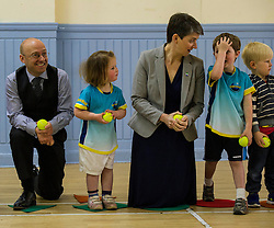Pictured: Partick Harvie and Maggie Chapman joined in the fun with the children attending the North Merchiston Community Centre.<br /> <br /> Patrick Harvie, Co-Convenor of the Scottish Green Party met children at the Enjoy-a-Ball Holiday camp taking place at the North Merchiston Community Centre ahead of Tuesday's TV debate. Mr Harvie was joined by fellow MSP candidates Andy Wightman, Local Government Spokesperson, Maggie Chapman, Co-convener and Alison Johnston candiate for Lothian to present taxation proposals and answer questions.<br /> <br /> Ger Harley | EEm 29 March 2016