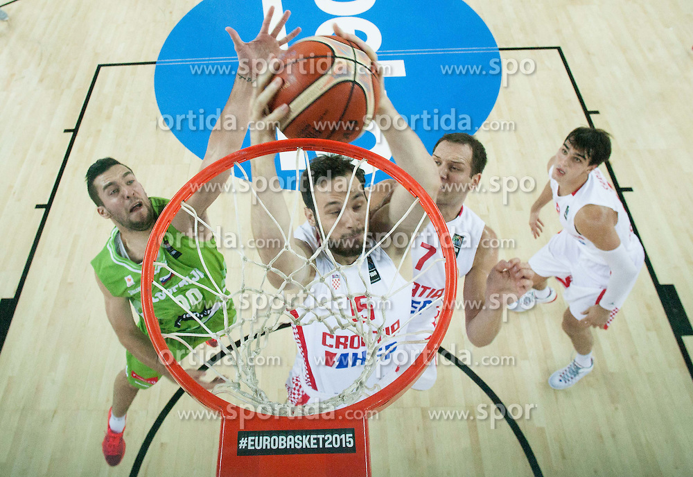 Mitja Nikolic of Slovenia vs Miro Bilan of Croatia during basketball match between Croatia and Slovenia at Day 1 in Group C of FIBA Europe Eurobasket 2015, on September 5, 2015, in Arena Zagreb, Croatia. Photo by Vid Ponikvar / Sportida