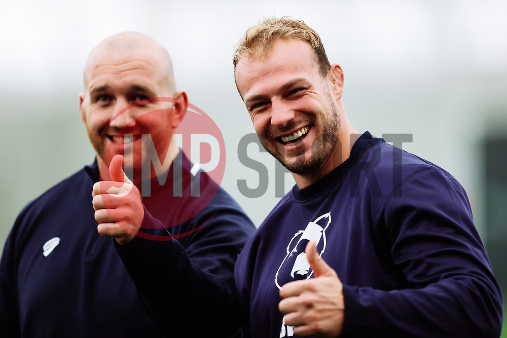 Mitch Eadie and Yann Thomas look on as Bristol Bears start to use their new almost completed Training centre - Rogan/JMP - 08/07/2020 - RUGBY UNION - Beggar Bush Lane - Bristol, England.