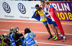 Third placed Austin Hamilton of Sweden, winner Richard Kilty of Great Britain and second placed Ján Volko of Slovakia celebrate after competing in the 60m Men Final on day two of the 2017 European Athletics Indoor Championships at the Kombank Arena on March 4, 2017 in Belgrade, Serbia. Photo by Vid Ponikvar / Sportida