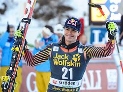 21.12.2013, Saslong, Groeden, ITA, FIS Ski Weltcup, Groeden, Riesentorlauf, Herren, Siegerpraesentation, im Bild Erik Guay (CAN, 1. Platz) // 1st place Erik Guay of Canada Celebrate on Podium after mens Giant Slalom of the Groeden FIS Ski Alpine World Cup at the Saslong Raptor in Groeden, Italy on 2012/12/21. EXPA Pictures © 2013, PhotoCredit: EXPA/ Erich Spiess