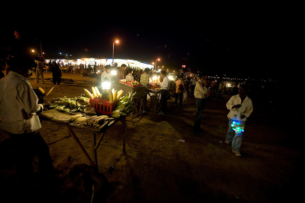 A night scene in the Juhu beach area of Mumbai, India, March 29, 2008. Prashanth Vishwanathan\ATLAS PRESS