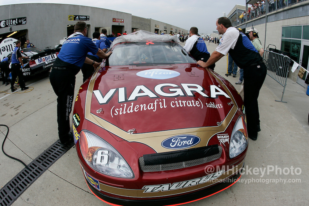 Mark Martin's car is pushed out of the garage during practice for the Allstate 400 at the Brickyard.