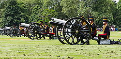 Hyde Park, London, June 10th 2016. As  part of the double celebration of HM The Queen and her Husband HRH Prince Philip, the King's Troop Royal Horse Artillery fire a 41 gun salute in honour of Prince Philip's 95th birthday in London's Hyde Park. PICTURED: The King's Troop Royal Horse Artillery wait for orders to fire.