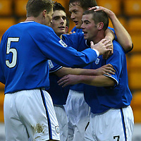 St Johnstone v Clyde..08.11.03<br />Peter MacDonald celebrates giving St Johnstone the lead<br /><br />Picture by Graeme Hart.<br />Copyright Perthshire Picture Agency<br />Tel: 01738 623350  Mobile: 07990 594431