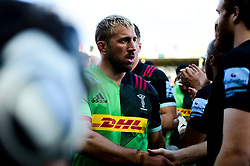 Chris Robshaw of Harlequins shakes hands with Jannes Kirsten of Exeter Chiefs - Mandatory by-line: Ryan Hiscott/JMP - 19/10/2019 - RUGBY - Sandy Park - Exeter, England - Exeter Chiefs v Harlequins - Gallagher Premiership Rugby