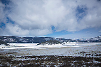 Spring snowfall in in the Valles Caldera National Preserve near Jemez Springs, NM.