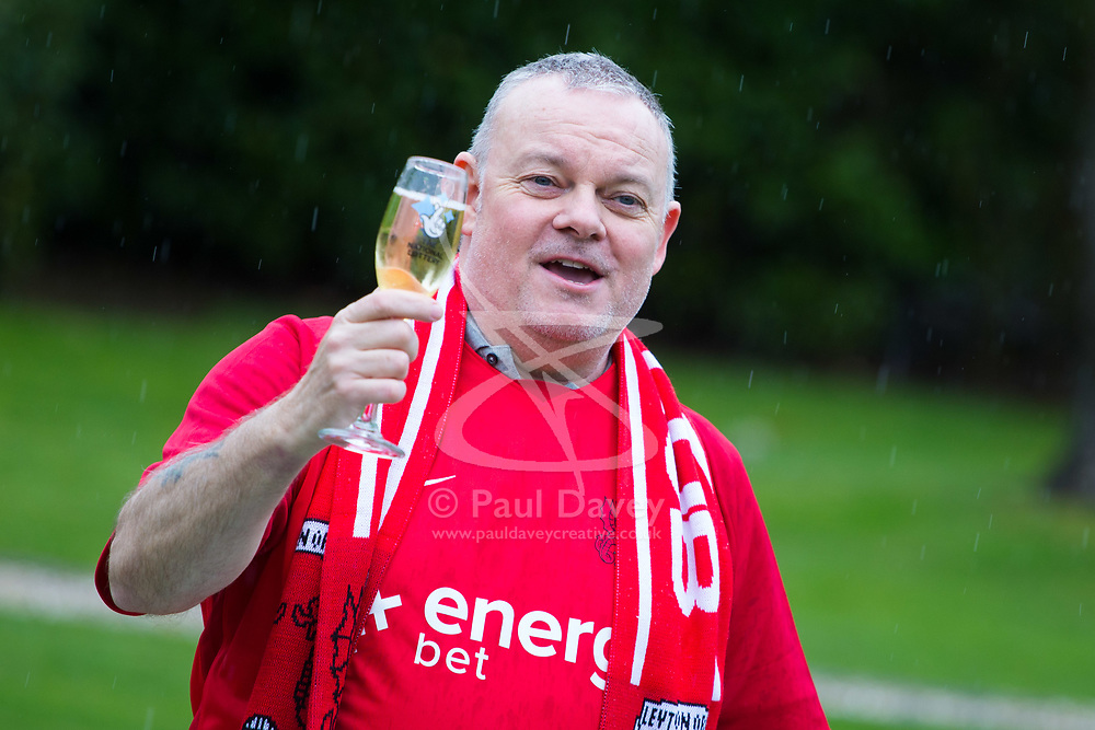 Dad of three and lifelong Leyton Orient fan Paul Long, 55, celebrates his £9,339,858 win at the Orsett Hall Hotel in Essex, March 28 2018.