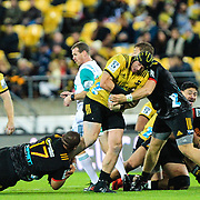 Jeffery Toomaga-Alleny runs with the ball during the super rugby union game between Hurricanes and Chiefs, played at Westpac Stadium, Wellington, New Zealand on 13 April 2018. Hurricanes won 25-13.