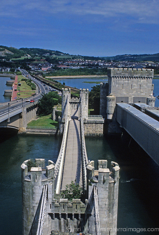 """Europe, United Kingdom, Wales, Conwy. Conwy Castle, a UNESCO World Heritage Site, one of the """"Castles and Town Walls of King Edward I in Gwynedd""""."""