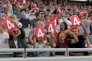 Lancashire fans during the Vitality T20 Blast North Group match between Lancashire Lightning and Leicestershire Foxes at the Emirates, Old Trafford, Manchester, United Kingdom on 3 August 2018. Picture by George Franks.