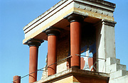 Ancient Crete. Palace of Knossos 1400-1200 BC. Reconstructed balustrade west fron.t