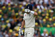Wicket - Joe Denly of England looks dejected as he walks back to the pavilion after being dismissed by Pat Cummins of Australia during the 5th International Test Match 2019 match between England and Australia at the Oval, London, United Kingdom on 12 September 2019.