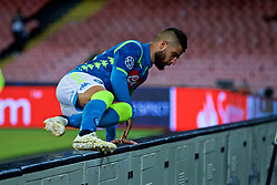 NAPLES, ITALY - Wednesday, October 3, 2018: Napoli's Lorenzo Insigne jumps over the advertising hoardings to celebrate with supporters during the UEFA Champions League Group C match between S.S.C. Napoli and Liverpool FC at Stadio San Paolo. (Pic by David Rawcliffe/Propaganda)