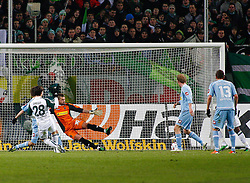 25.02.2010, Volkswagen Arena, Wolfsburg, GER, 1.FBL, VfL Wolfsburg vs Borussia Moenchengladbach, im Bild   Diego (Wolfsburg #28) trifft zum 1:0.EXPA Pictures © 2011, PhotoCredit: EXPA/ nph/  Schrader       ****** out of GER / SWE / CRO  / BEL ******
