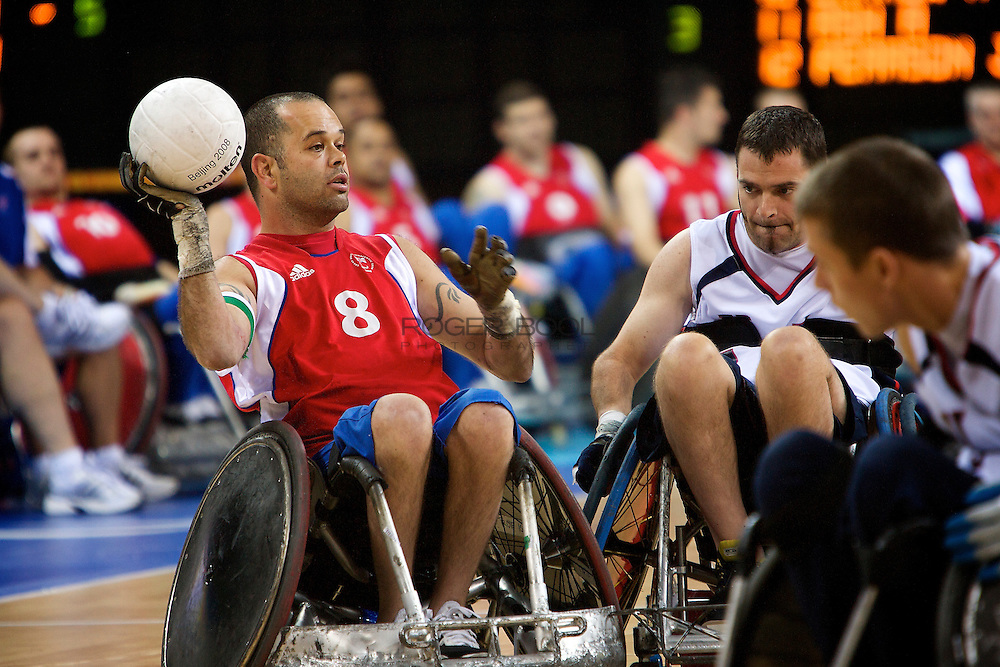 Great Britain in the quad rugby semi final against the USA in the USTB Gymnasium at the Paralympic games, Beijing, China.  15th  September 2008