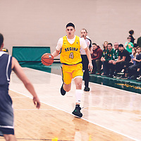 2nd year guard, Brayden Kuski (4) of the Regina Cougars during the Men's Basketball Home Game on Fri Nov 02 at Centre for Kinesiology,Health and Sport. Credit: Arthur Ward/Arthur Images