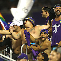 ORLANDO, FL - JUNE 18:  Fans celebrate an Orlando City goal during an MLS soccer match between the San Jose Earthquakes and the Orlando City SC at Camping World Stadium on June 18, 2016 in Orlando, Florida. (Photo by Alex Menendez/Getty Images) *** Local Caption ***