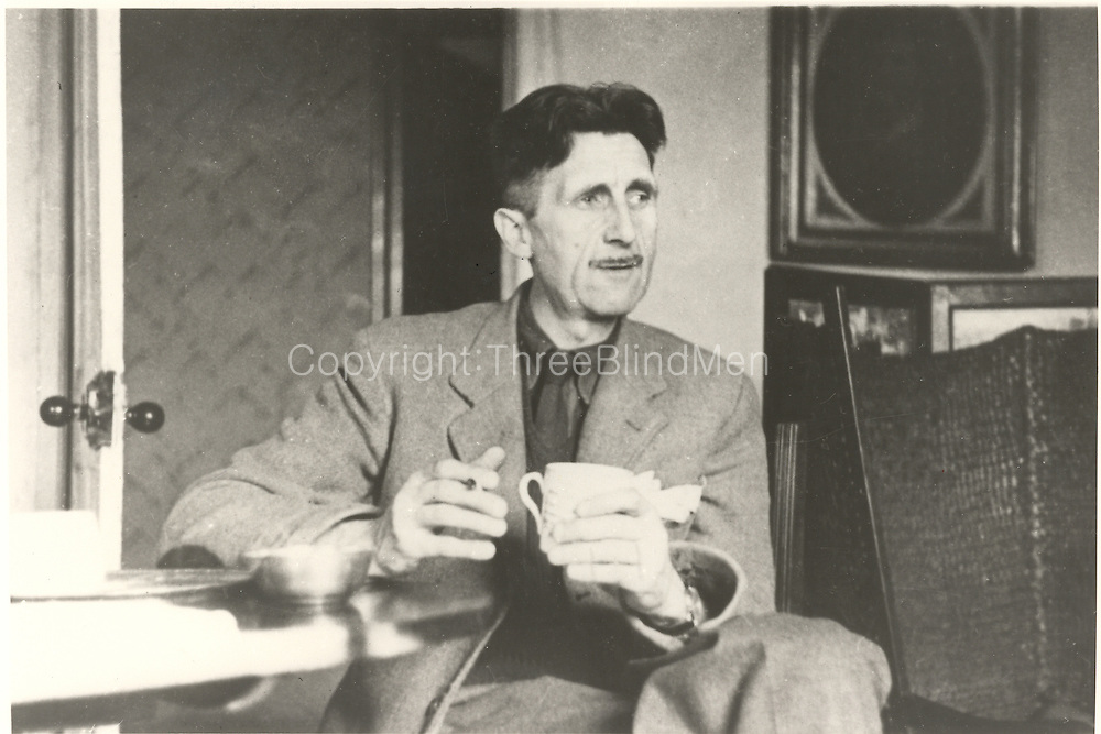 George Orwell with a cup of tea.<br />