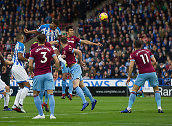 Mathias Zanka Jorgensen of Huddersfield Town (C) heads at goal - Mandatory by-line: Jack Phillips/JMP - 10/11/2018 - FOOTBALL - The John Smith's Stadium - Huddersfield, England - Huddersfield Town v West Ham United - English Premier League