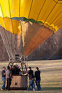 Middletown, New York - The crew inflates a hot air balloon at Randall Airport on April 12, 2014.