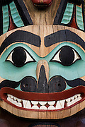 Detail of Tlingit totem pole at Saxman Totem Park, Ketchikan, Alaska.