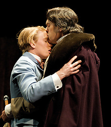 The Judas Kiss, the Duke of York's Theatre, London, Great Britain..Rupert Everett as Oscar Wilde. Freddie Fox as Lord Alfred Douglas, January 18, 2013. Photo by Elliott Franks / i-Images. .