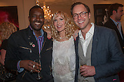 ORLANDO HAMILTON; BASIA BRIGGS; ROBIE HONEY, Party given by Basia Briggs and Richard Briggs at their home in Chelsea. London. 14 May 2012