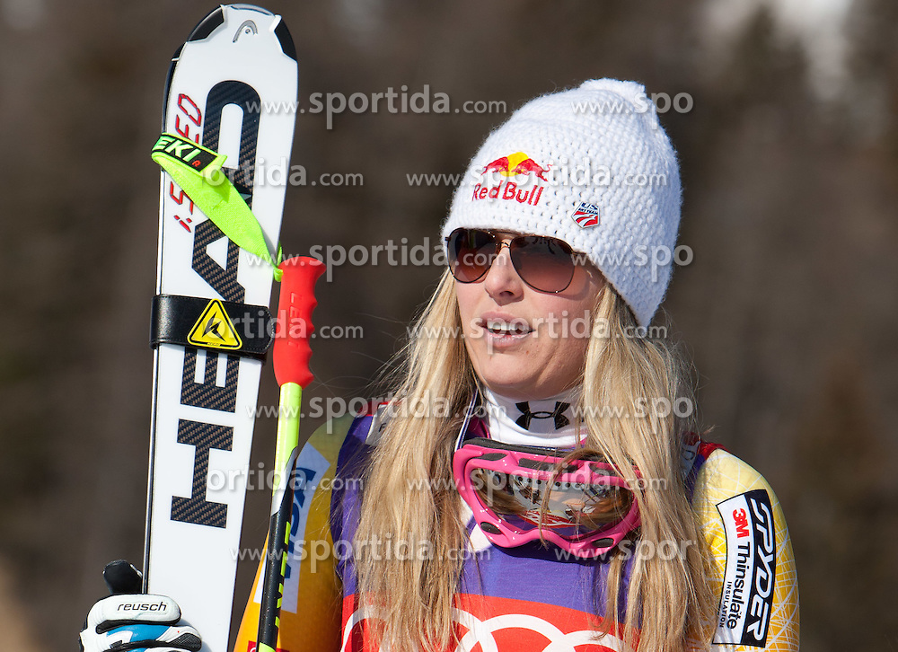 14.01.2012, Pista Olympia delle Tofane, Cortina, ITA, FIS Weltcup Ski Alpin, Damen, Abfahrt, Podium, im Bild Lindsey Vonn (USA, Rang 2) // second place Lindsey Vonn of USA on Podium during ladies downhill race of FIS Ski Alpine World Cup at 'Pista Olympia delle Tofane' course in Cortina, Italy on 2012/01/14. EXPA Pictures © 2012, PhotoCredit: EXPA/ Johann Groder