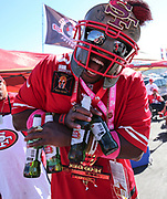 Oct 07, 2018; Santa Clara, CA, USA; Marlon Allen, aka Spartan Captain fans tailgating prior to an NFL game between San Francisco 49ers and the Arizona Cardinals at Levi's Stadium. (Spencer Allen/Image of Sport)