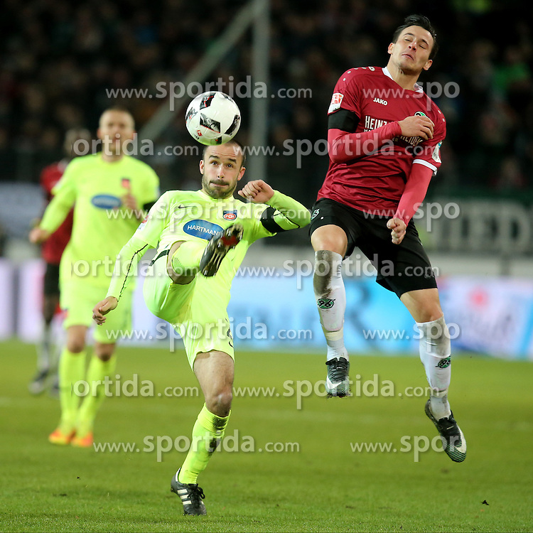 02.12.2016, HDI Arena, Hamburg, GER, 2. FBL, Hannover 96 vs 1. FC Heidenheim, 15. Runde, im Bild Robert Strauss (1.FC Heidenheim #29#) Edgar Prib ( Hannover 96 #7 ) // during the 2nd German Bundesliga 15th round match between Hannover 96 and 1. FC Heidenheim at the HDI Arena in Hamburg, Germany on 2016/12/02. EXPA Pictures &copy; 2016, PhotoCredit: EXPA/ Eibner-Pressefoto/ Langer<br /> <br /> *****ATTENTION - OUT of GER*****