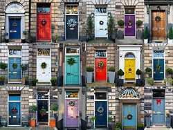 Edinburgh, Scotland, UK. 11th Dec 2019. A great variety of Christmas wreaths are fixed to the colourful doors of townhouses in Edinburgh's historic new Town. Iain Masterton/Alamy Live news.