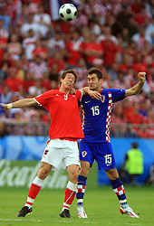 Roland Linz of Austria and Dario Knezevic of Croatia during the UEFA EURO 2008 Group B soccer match between Austria and Croatia at Ernst-Happel Stadium, on June 8,2008, in Vienna, Austria.  (Photo by Vid Ponikvar / Sportal Images)