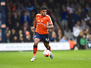 Luton Town player James Justin looks for an opening in the first half during the EFL Sky Bet League 2 play off second leg match between Luton Town and Blackpool at Kenilworth Road, Luton, England on 18 May 2017. Photo by Ian  Muir.
