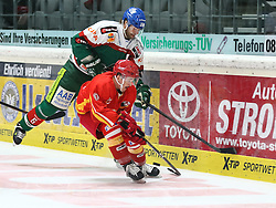 28.11.2014, Curt Frenzel Stadion, Augsburg, GER, DEL, Augsburger Panther vs Duesseldorfer EG, 21. Runde, im Bild Kampf um den Puck zwischen Jeff Woywitka (Augsburger Panther #6) und Manuel Strodel (Duesseldorfer EG, vorne), // during Germans DEL Icehockey League 21th round match between Augsburger Panther and Duesseldorfer EG at the Curt Frenzel Stadion in Augsburg, Germany on 2014/11/28. EXPA Pictures &copy; 2014, PhotoCredit: EXPA/ Eibner-Pressefoto/ Krieger<br /> <br /> *****ATTENTION - OUT of GER*****