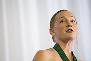 Lauren Mazziotto gives a speech after getting accepted into The Kermit Blosser Ohio Athletics Hall of Fame at the Alumni Awards Gala on October 6, 2017.