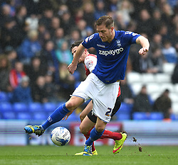 Birmingham City's Michael Morrison in action during the Sky Bet Championship match between Birmingham City and Rotherham United at St Andrew's Stadium on 3 April 2015 in Birmingham, England - Photo mandatory by-line: Paul Knight/JMP - Mobile: 07966 386802 - 03/04/2015 - SPORT - Football - Birmingham - St Andrew's Stadium - Birmingham City v Rotherham United - Sky Bet Championship