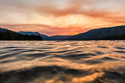 """""""Donner Lake Sunset 40"""" - Photography of Donner lake in Truckee, California shot at sunset. An underwater housing was used for the camera and the lens was right on the surface of the lake."""