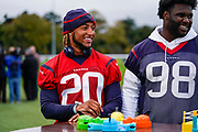Justin Reid (S) of the Houston Texans (20) during the media day / training session / press conference for Houston Texans at London Irish Training Ground, Hazelwood Centre, United Kingdom on 1 November 2019.