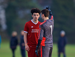 WOLVERHAMPTON, ENGLAND - Tuesday, December 19, 2017: Liverpool's Curtis Jones clashes with Wolverhampton Wanderer's goalkeeper Jackson Smith during an Under-18 FA Premier League match between Wolverhampton Wanderers and Liverpool FC at the Sir Jack Hayward Training Ground. (Pic by David Rawcliffe/Propaganda)