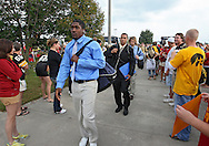 September 12, 2009: Iowa players arrive before the game between the Iowa Hawkeyes and the Iowa State Cyclons at Jack Trice Stadium in Ames, Iowa on September 12, 2009.