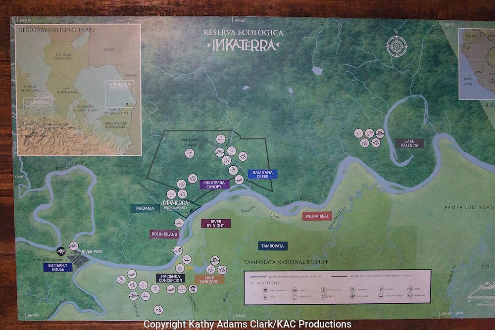 Map of Inkaterra Amazonia; Peru; Reserva Ecologica Inkaterra