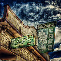 Old retro neon street sign for a cafe in USA