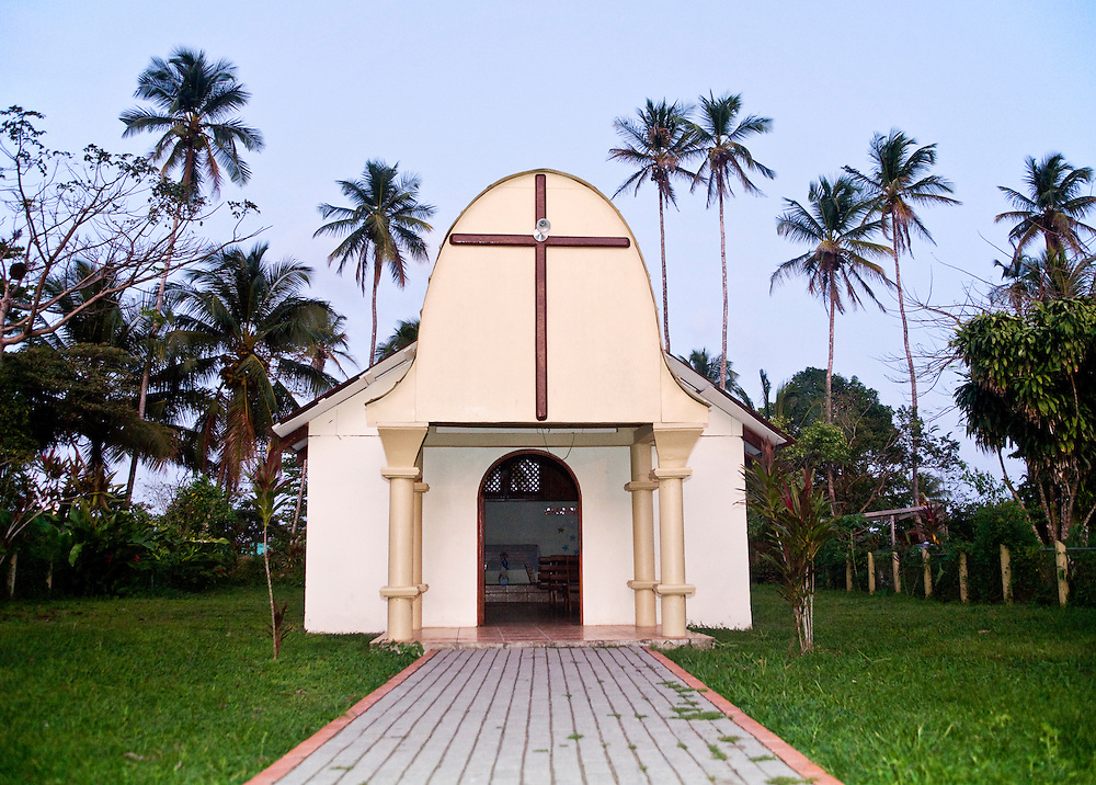 The catholic church of Tortuguero Village.  Located on the Caribbean coast of Costa Rica, Tortuguero is well known for the nesting turtles on its beaches as well as its diverse wildlife along its rivers banks.