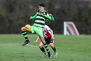 Forest Green Rovers Will Davidson(5) controls the ball during the The Central League match between Cheltenham Town Reserves and Forest Green Rovers Reserves at The Energy Check Training Ground, Cheltenham, United Kingdom on 28 November 2017. Photo by Shane Healey.