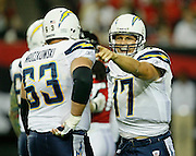 ATLANTA - AUGUST 29:  Quarterback Philip Rivers #17 of the San Diego Chargers argues an intentional grounding call during the game against the Atlanta Falcons at the Georgia Dome on August 29, 2009 in Atlanta, Georgia.  The Falcons beat the Chargers 27-24.  (Photo by Mike Zarrilli/Getty Images)